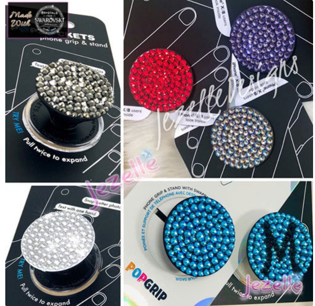 Silver Night - Custom Bling Popsocket with Swarovski Crystals