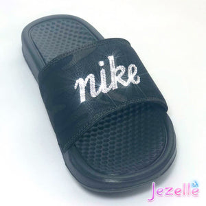 (Size 7) Swarovski Nike Olive Camo Slides - READY TO SHIP!