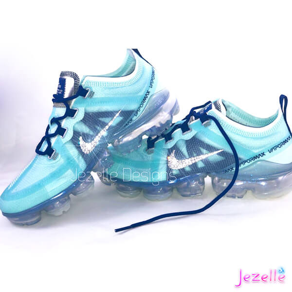 low priced f539c 5fe86 Blue Nike Air Vapormax 2019 w/Swarovski Crystals (Blue Void/Teal Tint)