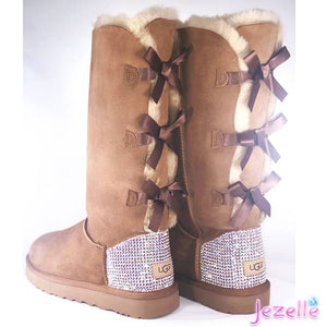 (Chestnut) Bailey Bow Uggs® with Swarovski AB Crystals® (TALL STYLE)