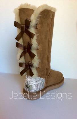 Image of Tan Bedazzled Bailey Bow Uggs