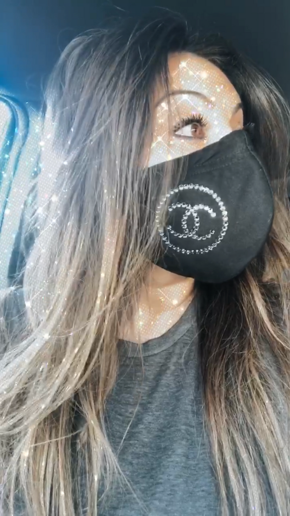 Handmade Face Mask with CC Logo Swarovski Crystals