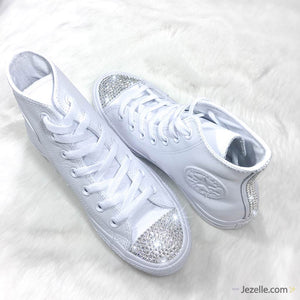 Wedding Converse with Swarovski Crystals (Leather High-top)