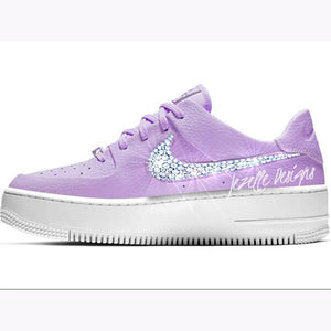 Nike Air Force 1 Sage Low w/Swarovski Crystals (All White )