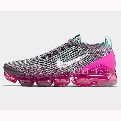 Image of VaporMax Flyknit 3 w/Swarovski Crystals (Black/Pink)