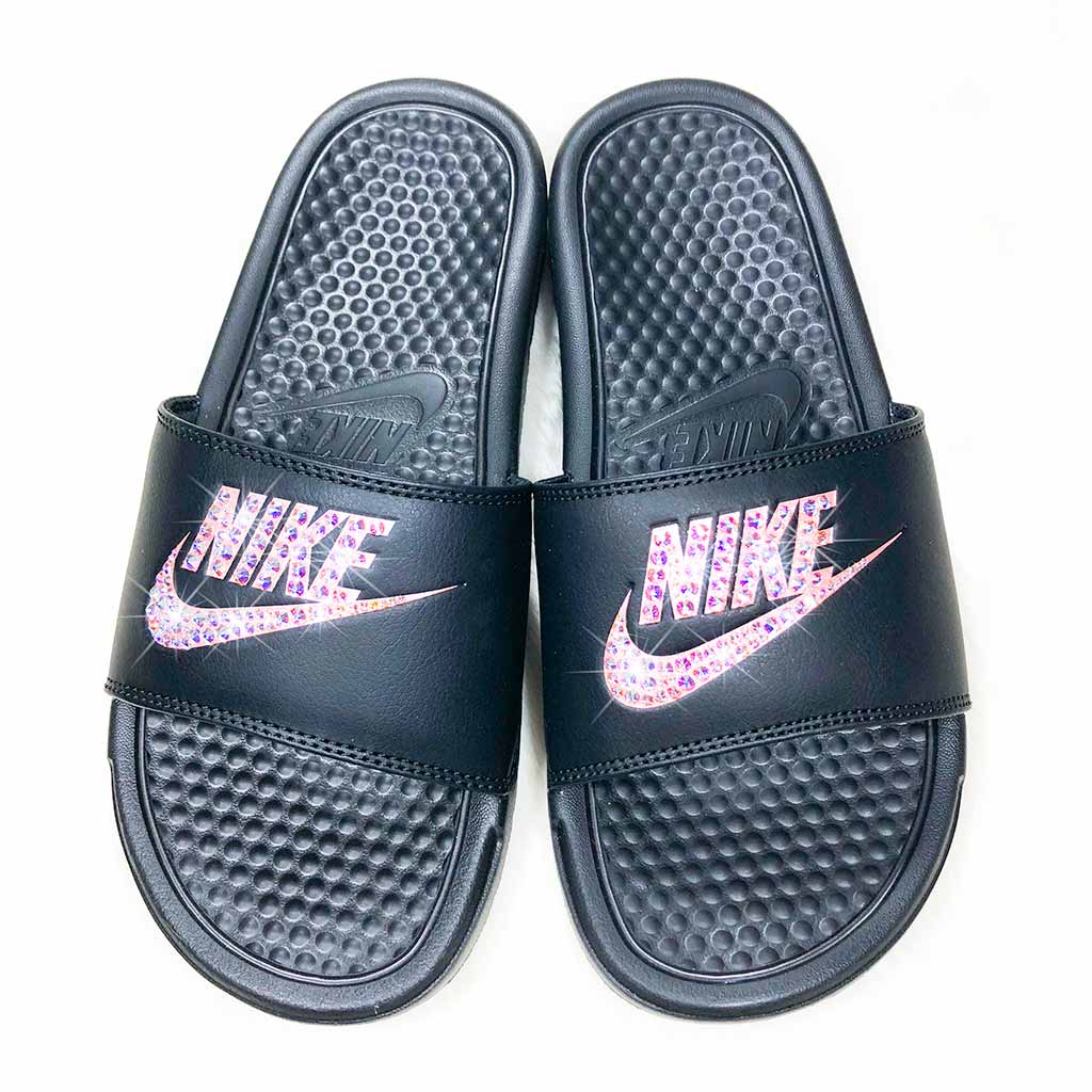 020ff415224b Home Custom Slides ✨Swarovski-Black Rose Gold Logo-Benassi Nike Slides🔥.  Bedazzled Sandals ...
