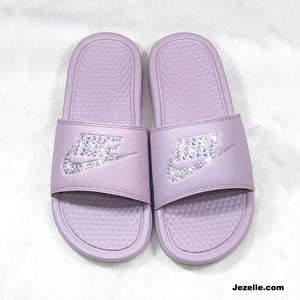 Particle Rose 'Blush' Bling Swarovski Benassi Nike Slides