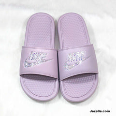 ✨Rose Gold 'Blush' Bling Swarovski Benassi Nike Slides 🤩