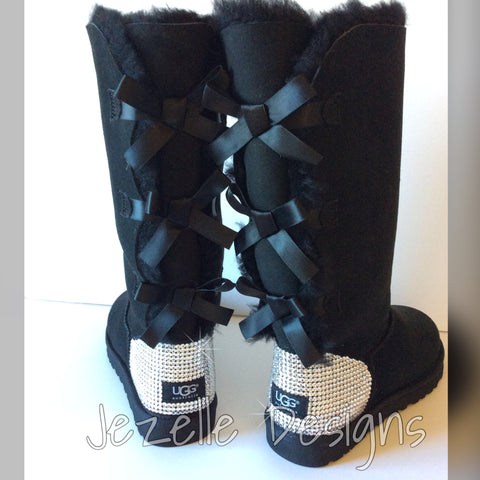 Image of Black Hand Encrusted Blinged Out Swarovski Uggs