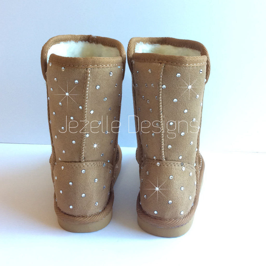 Baby Bling Fur Boots - Tall Faux-Suede Boots for Toddler - Custom Hand Jeweled with Genuine Swarovski Crystals | Toddler UGG-lik