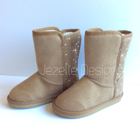 Image of Baby Bling Fur Boots - Tall Faux-Suede Boots for Toddler - Custom Hand Jeweled with Genuine Swarovski Crystals | Toddler UGG-lik
