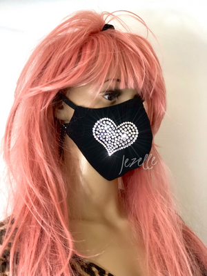 "Custom ""FULL HEART"" Face Mask Hand Jeweled w/ Swarovski Crystals"