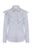 S.Entwistle Blue Vee Ruffle Shirt