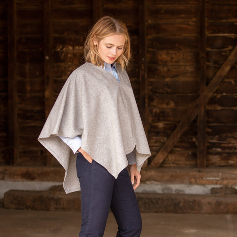 S.Entwistle Grey Wool Poncho
