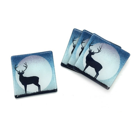 Glass Stag Coaster - Blue