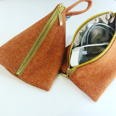 Travel Accessories Tweed Zip Pouch