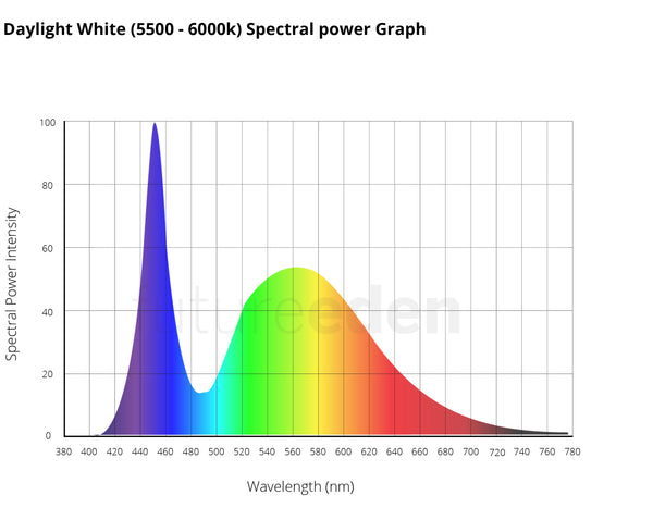 Daylight white 1W 3W 10W Natural grow light spectral power graph