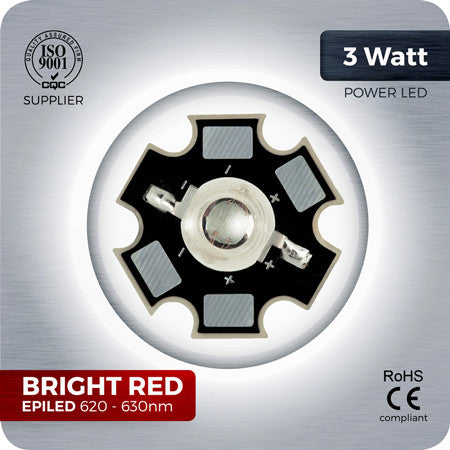3W Bright Red High Power LED components 620nm-630nm for grow lights