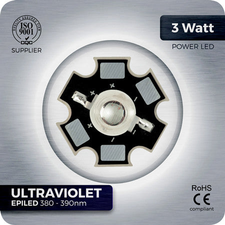 3W Ultraviolet UV LED 380-390nm EPILED with PCB star for reef lights
