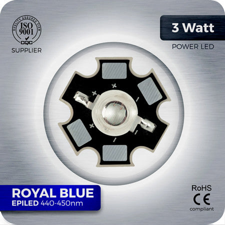 3W Royal Blue LED components 440nm - 450nm on 20mm star PCB