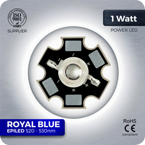 1W Royal Blue High Power LED components 440nm - 450nm on star PCB