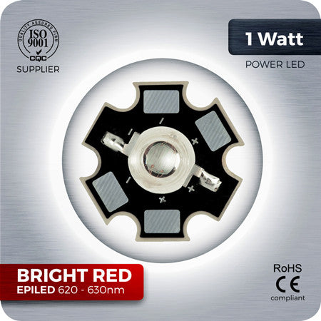 1W Bright Red LED Component 620nm - 630nm for homemade grow lights
