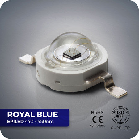 3W Royal Blue Power LED 440-450nm for DIY reef and grow lights.