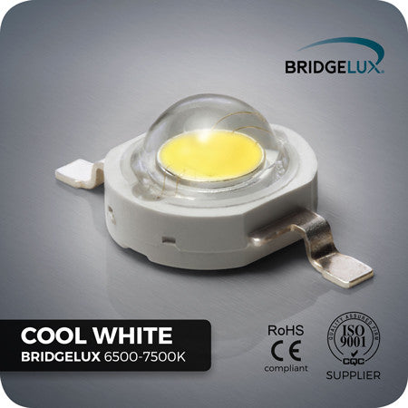 1W Cool White Bridgelux LED components 6500-7500k - UK stock
