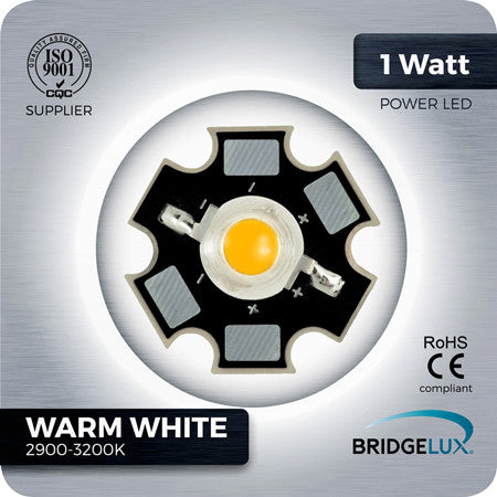 1W Warm White LED (Bridgelux 2600-3200k)