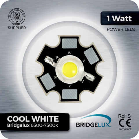 1W Bridgelux Cool White LED components (6500k - 7500k) on aluminium PCB star