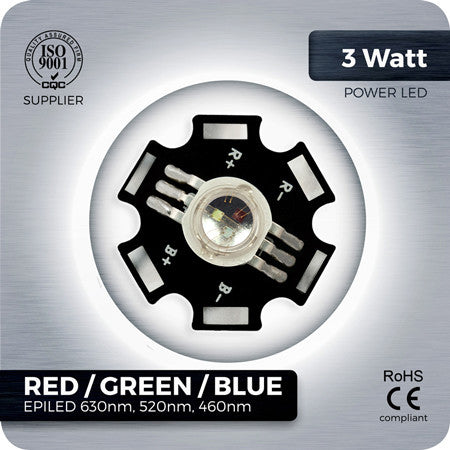 3W RGB Red, Green, Blue LED component on PCB star