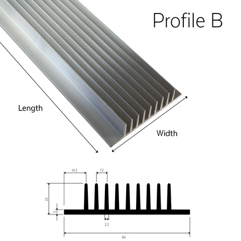 Aluminium Heatsink Profile B (T Series) - futureeden.co.uk