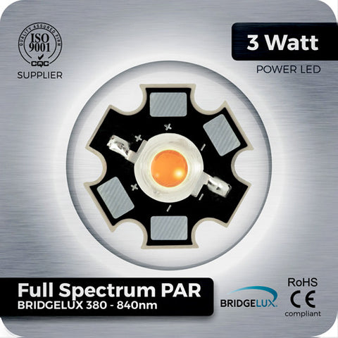 3W Full Spectrum PAR LED (Bridgelux 380-840nm) - futureeden.co.uk