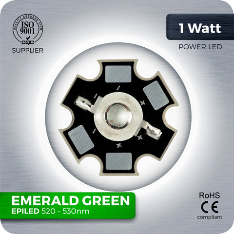 1W Green High LED components 520nm - 530nm on aluminium  PCB star