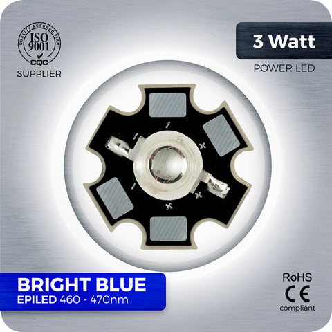 3W Bright Blue High Power LED components 460nm to 470nm on PCB star