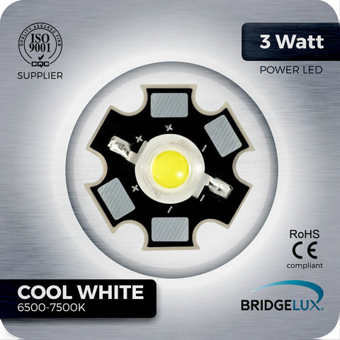 3W Cool White LED Bridgelux 6500k -7500k on PCB star