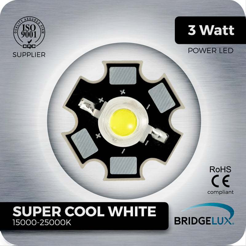 3W Super Cool White LED (Bridgelux 15000-25000k) on PCB - futureeden.co.uk