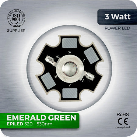 3W Green Power LED components 520nm -530nm on Star PCB