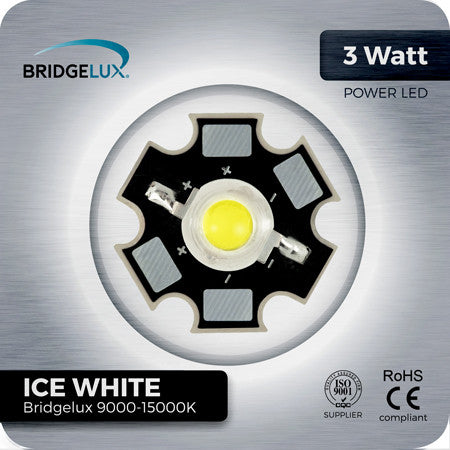 3W Cool White LED Components Bridgelux 9000k - 15000K on PCB Star