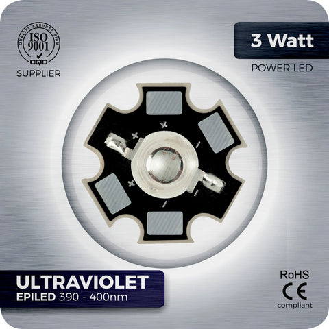 3W Ultraviolet UV LED (390-400nm EPILED) - futureeden.co.uk