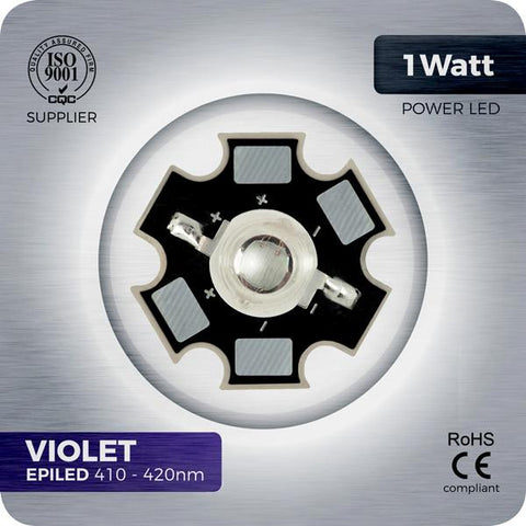 1W Violet LED 410-420nm on PCB star for aquariums and LED grow lights.