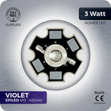 3W Violet LED (410-420nm EPILED) - futureeden.co.uk