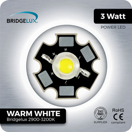 3W Warm White LED Bridgelux 2900k to 3200k with Star PCB
