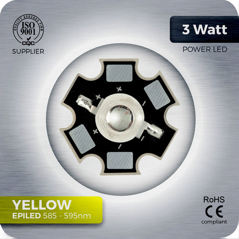 Yellow Power LED Component 585 - 595nm with aluminium PCB star