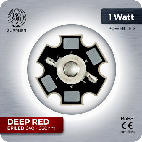 1W Deep Red LED component 640nm - 660nm on PCB for Grow lights