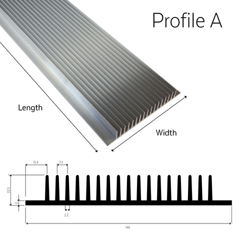 Aluminium Heatsink Profile A (T Series) - futureeden.co.uk