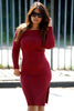 Burgundy dress street style with loose collar. Wear this bodycon dress with split with a biker jacket and high heels.