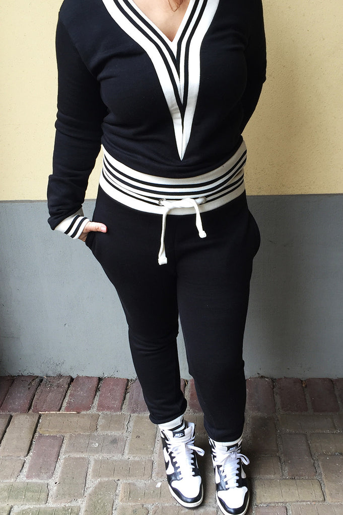 Jogging Suit V neck black.Shop this twin set jogging suit in black here. Make a statement in this sporty twin set jogging suit also in more colors.