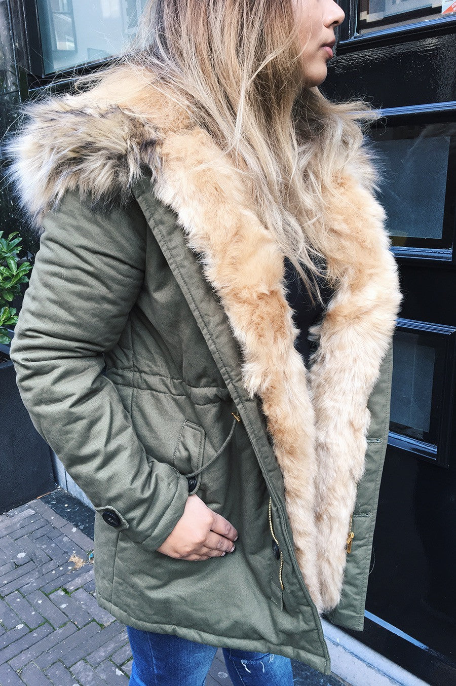 Army green bomber with pads