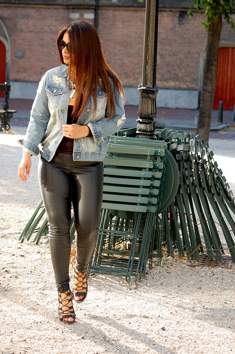 Parisienne style high waist leather pants. Fashion must have.